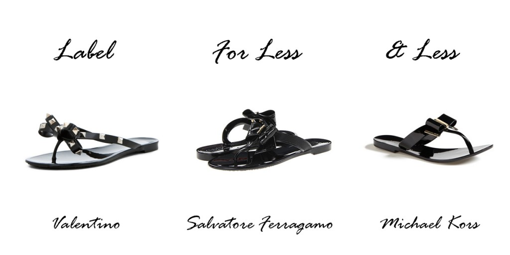 bow sandals, label for less, valentino, michael kors, Salvatore Ferragamo