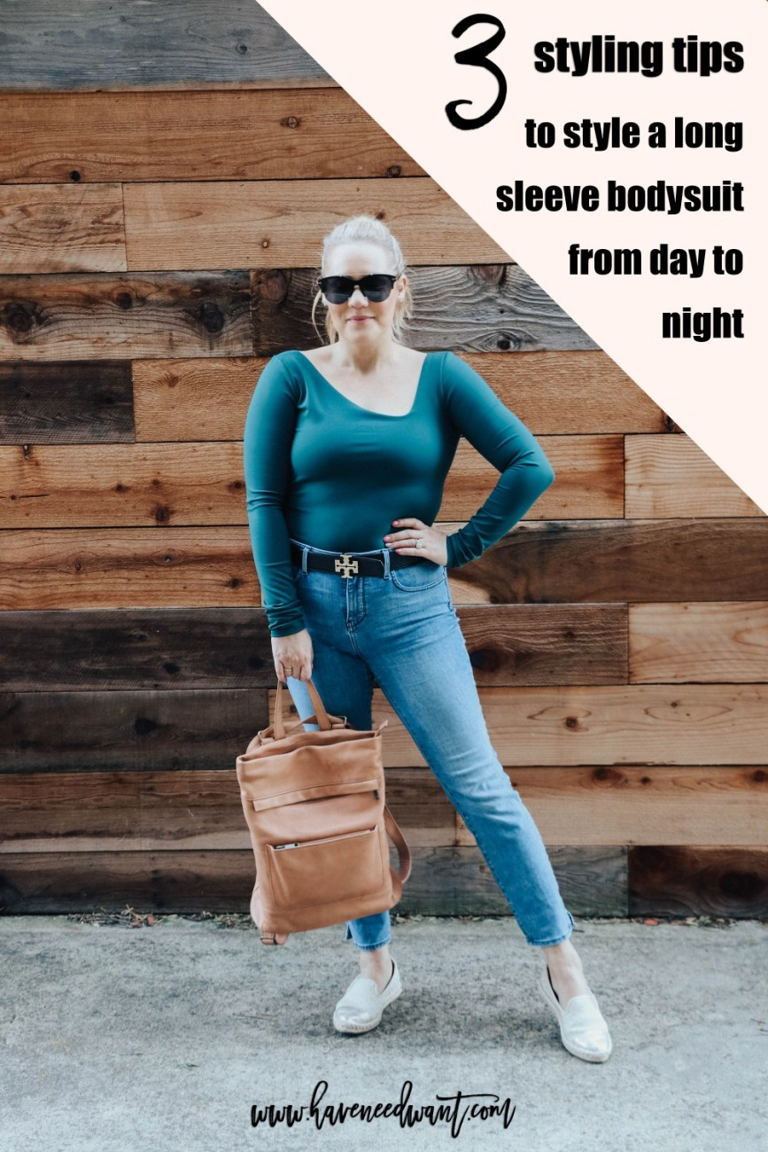 3 Styling Tips to Style a Bodysuit for Day to Night Dressing on Have Need Want! Click over for styling tips and to see the full look! #bodysuit #bodysuitandjeans #casualoutfit #freepeople #daytonight #daytonightlooks