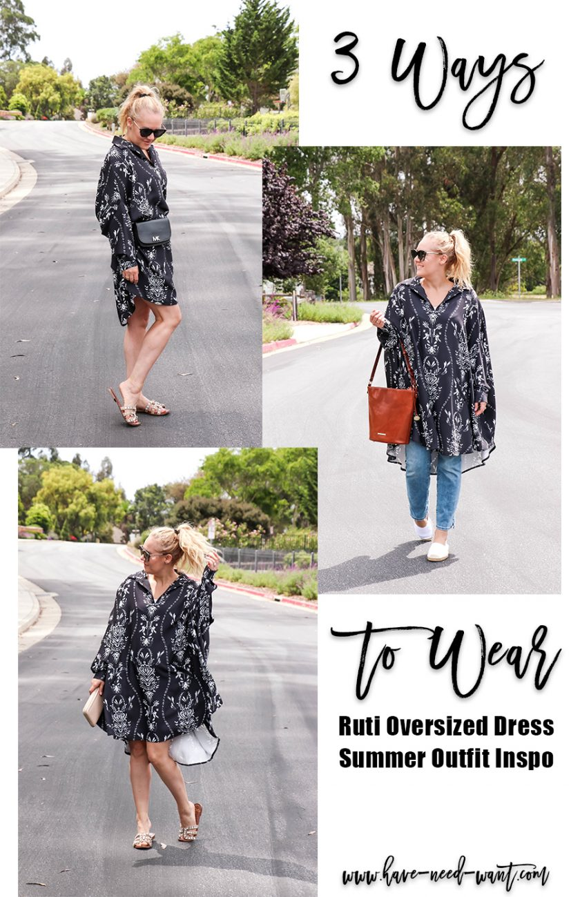 Sharing 3 Ways to Wear an Oversized Dress for Summer Featuring This Damask Print Dress From Ruti! Head on over to the blog to check out all three looks! #3waystowear #stylingtips #outfitinspiration #summeroutfits #summerstyle #oversizeddress