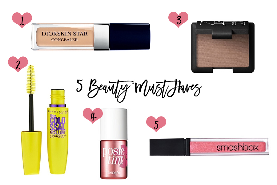 5 Beauty Must Haves-Have Need Want Beauty-Diorskin Concealer-Nars Blondie Matte Eyeshadow-Maybelline Colossal Volum Express Mascara-Posie Tint Benefit Cheek Stain-Smashbox Lip Gloss