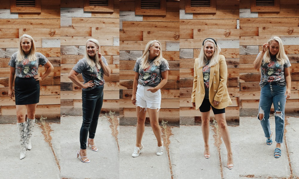 Styling a graphic tee 5 ways on the blog! #graphictee #styletips #outfitinspiration #multiplewaystowear