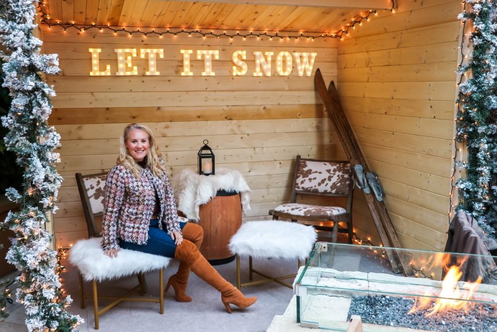 Check out the set up at Quattro's Après Ski winter dining experience at the Four Seasons Palo Alto! #apreski #winterstyle #winteroutfit #fourseasons #quattro #otkboots #tweedjacket