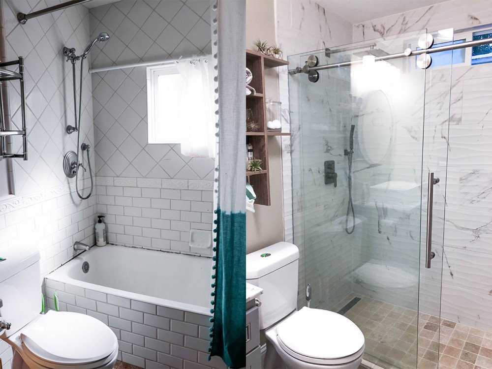 Sharing our bathroom remodel reveal on the blog today with before and after pictures. Head to the post to see the full transformation!! #homeremodel #homediy #bathroomdiy #bathroomremodel #homeprojects #bathroomgutjob