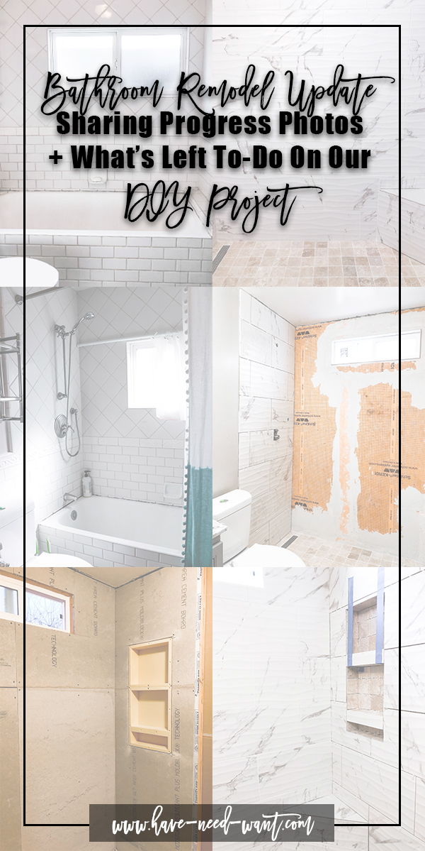 Sharing a progress update on our bathroom remodel. This project has taken much longer than anticipated and we've run into a few snags along the way but that's to be expected with any DIY project. Turning our old bathroom into a modern oasis! Head on over to the blog to check out our progress and to see what's left on our to-do list before it's complete. #bathroomremodel #homediy #bathroomdiyproject #modernbathroom #modernhomedesign