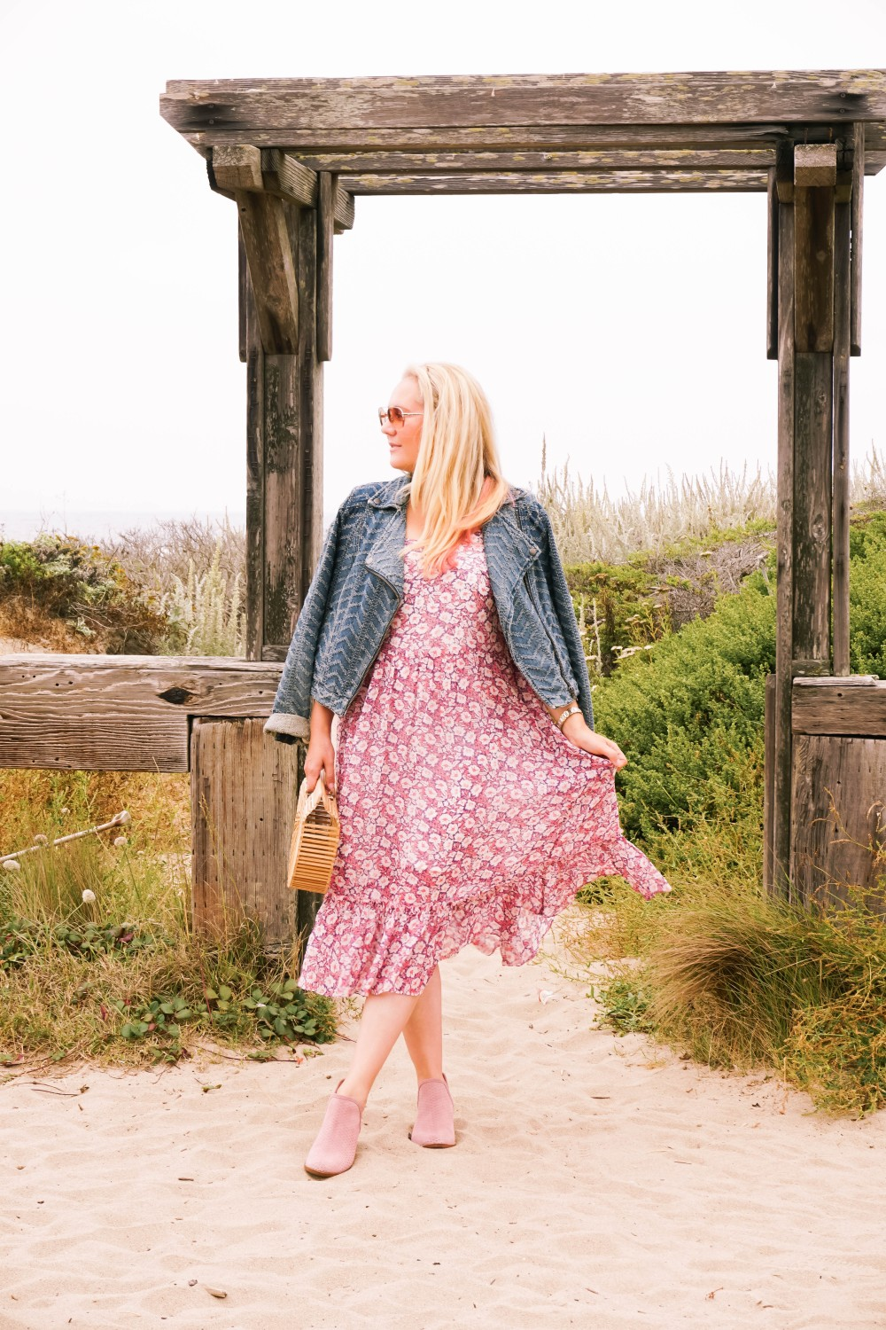 Breezy Beach Dress-Summer Floral Dress-Rebecca Minkoff-Outfit Inspiration-Visit Half Moon Bay-Denim Moto Jacket-Summer Style-Have Need Want 3