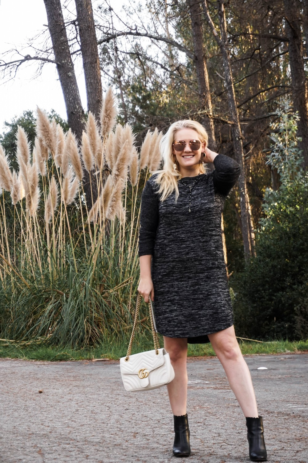 Easy Winter Outfit Wearing A Cozy Winter Knit Long Sleeve Dress - Have Need Want