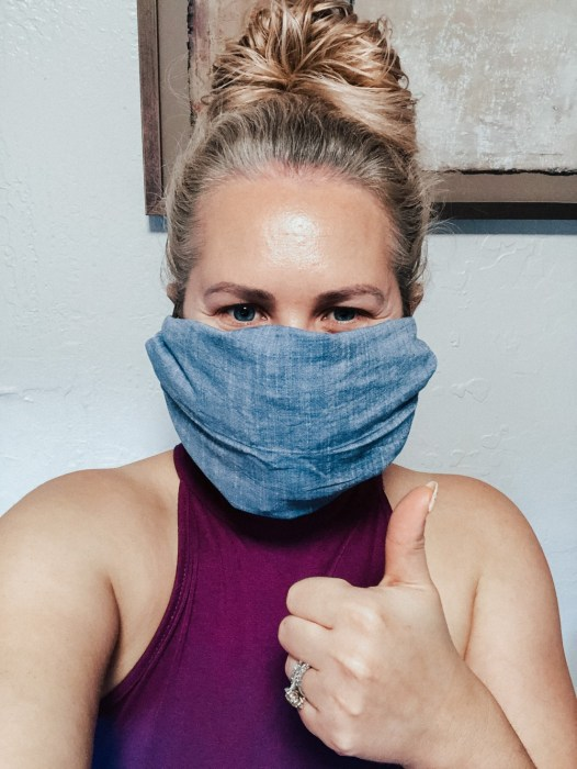 Easy no sew face mask DIY for when you need to run essential errands. #facemask #diyfacemask #covid19 #fabricfacemask