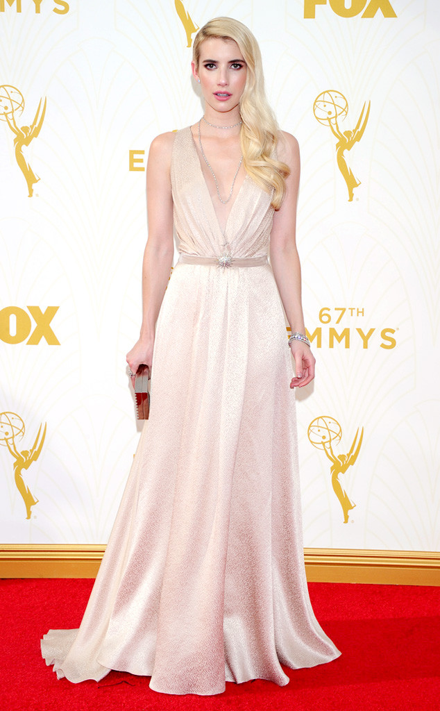 Emma Roberts-Jenny Packham-Lee Savage Clutch-Martin Katz Jewelry-Emmy's Red Carpet-2015 Emmys-Red Carpet Arrivals-Best Dressed