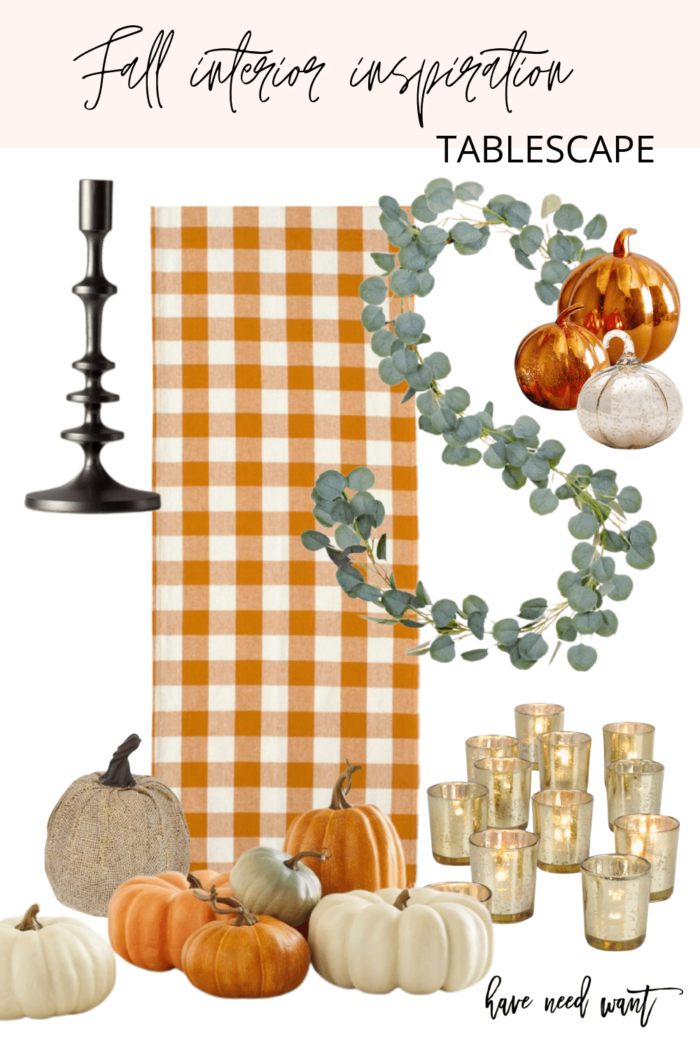 Fall interior inspiration and fall tablescape decor. These black candlestick holders are so chic and a beautiful contrast to the rest of the fall/thanksgiving tables cape decor.