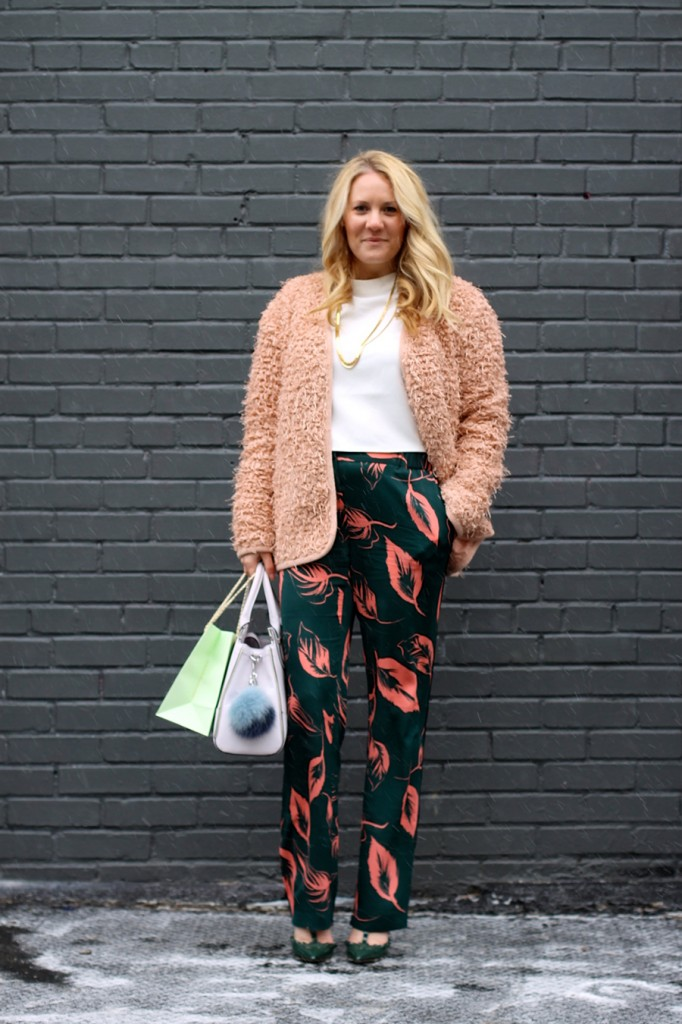 Flared Sleeve Crop Top-NYFW Steet Style-Fashion Blogger-Valentino Rockstuds-Boucle Jacket-English Factory-Nordstrom Signature Collection Pants 4