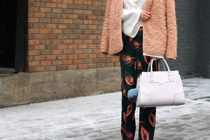 Flared Sleeve Crop Top-NYFW Steet Style-Fashion Blogger-Valentino Rockstuds-Boucle Jacket-English Factory-Nordstrom Signature Collection Pants 7