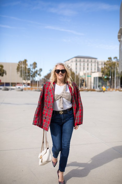 Getting Into the Holiday Spirit Wearing a Tartan Blazer and Plaid Pumps
