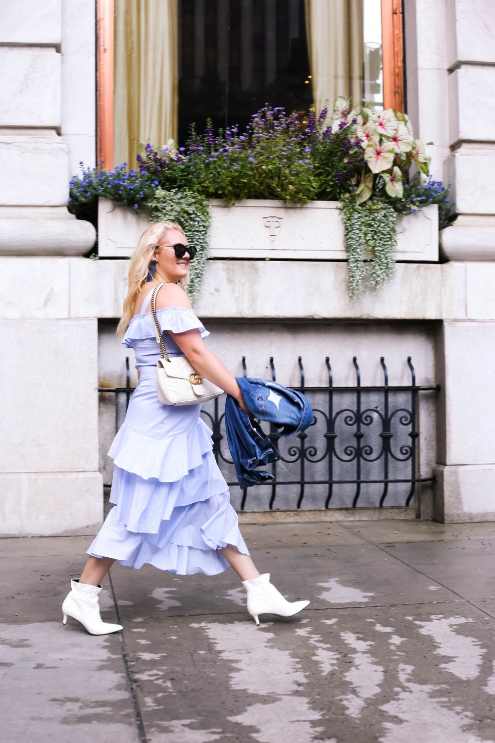 Asymmetrical Ruffle Dress, Chelsea28, White Booties, DIY Denim Jacket, Tom Ford Sunglasses, Kendra Scott Earrings, Gucci Marmont Bag