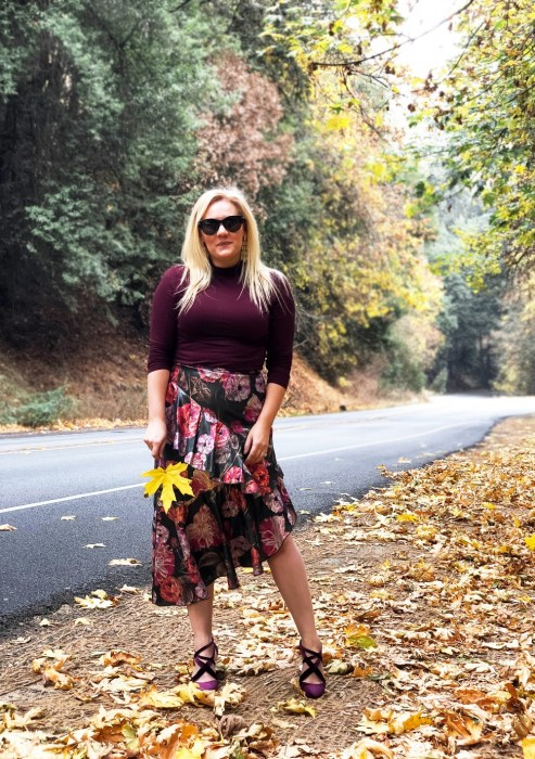 Holiday Party Outfit Wearing a Winter Floral Asymmetrical Skirt