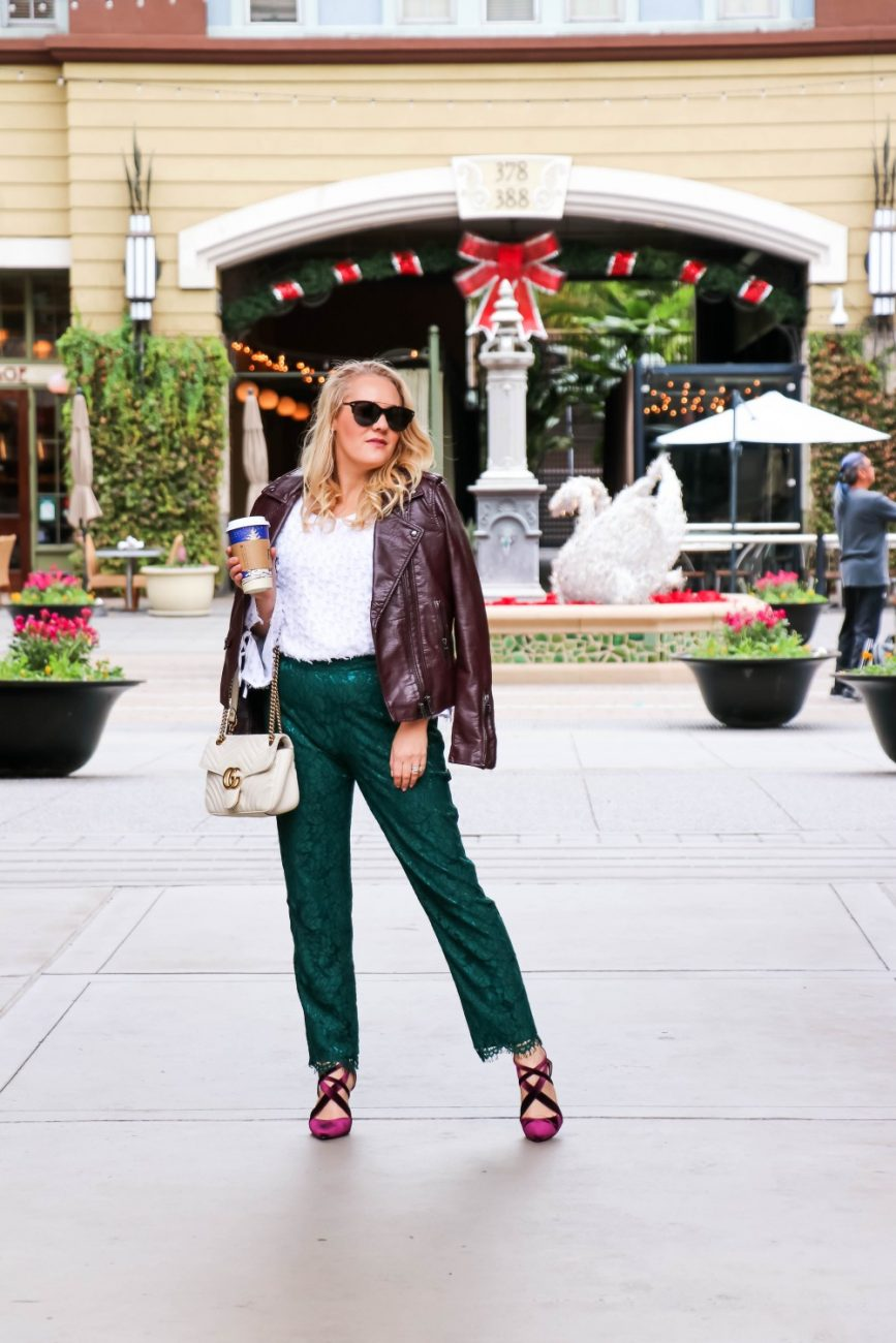 Love these green lace pants from Rachel Parcell and my velvet heels I've had for years from Nine West! Get this holiday inspired look when you head to the blog! #winterstyle #holidayoutfit #rachelparcell #holidayglam