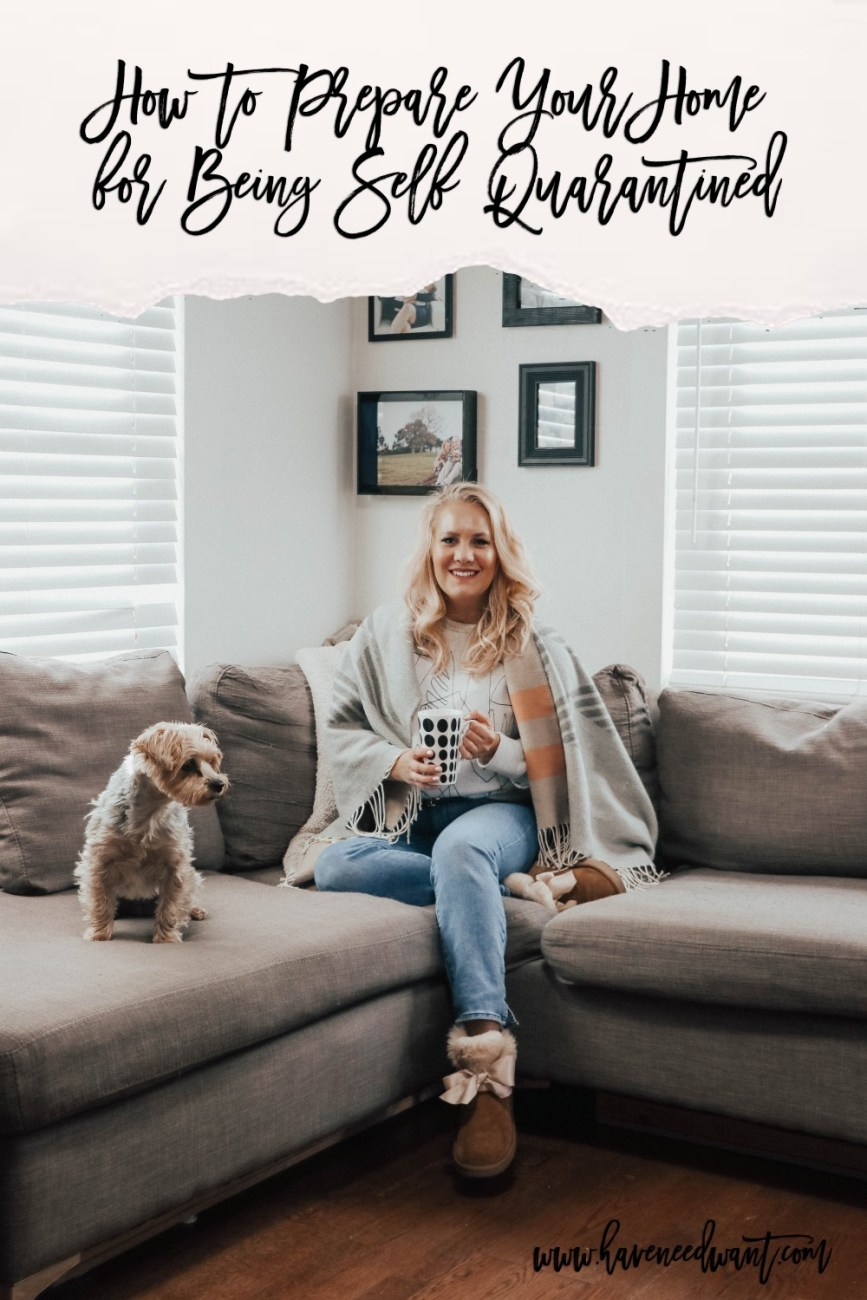 How to make sure your home and you are prepared for self quarantine due to the Coronavirus. I know it's scary times right now so I wanted to share what I've learned from medical professionals on what we should be doing to be prepared. Click on over to the post to give it a read and please pin to share with friends! #coronavirus #covid19 #selfquarantine
