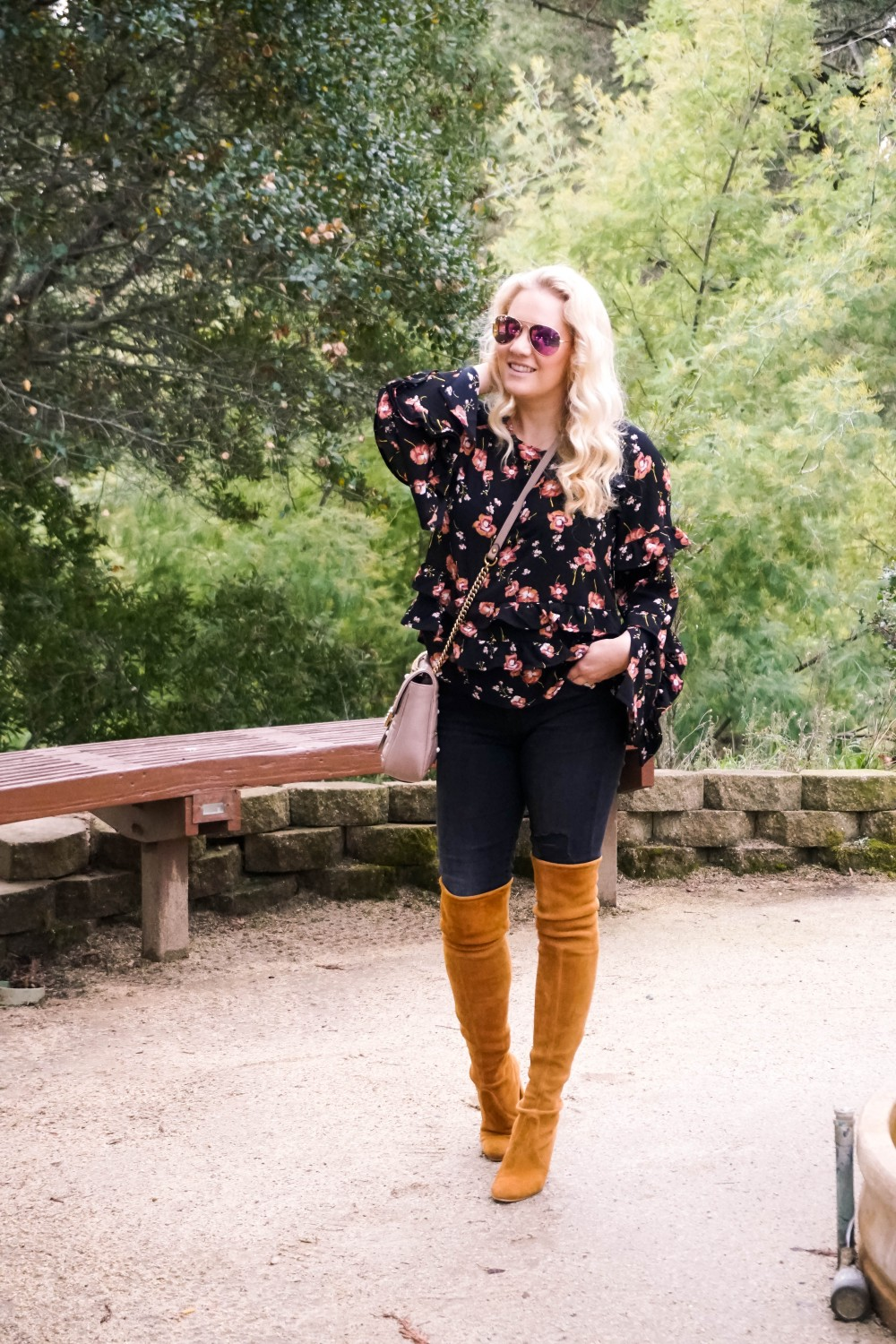 How to Wear Florals in Winter Like a Girl Boss, Floral Ruffle Blouse, Statement Sleeve Blouse, OTK Boots, Stuart Weitzman Highland Boots, Bay Area Fashion Blogger, Have Need Want