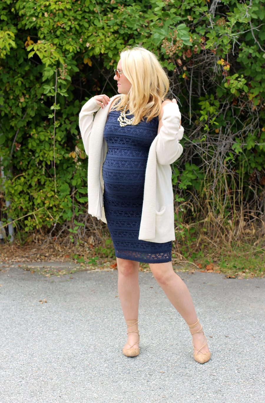 Ingrid and Isabel navy lace dress-Maternity Style-Outfit Inspiration-Bay Area Fashion Blogger-Have Need Want-Pregnancy Style