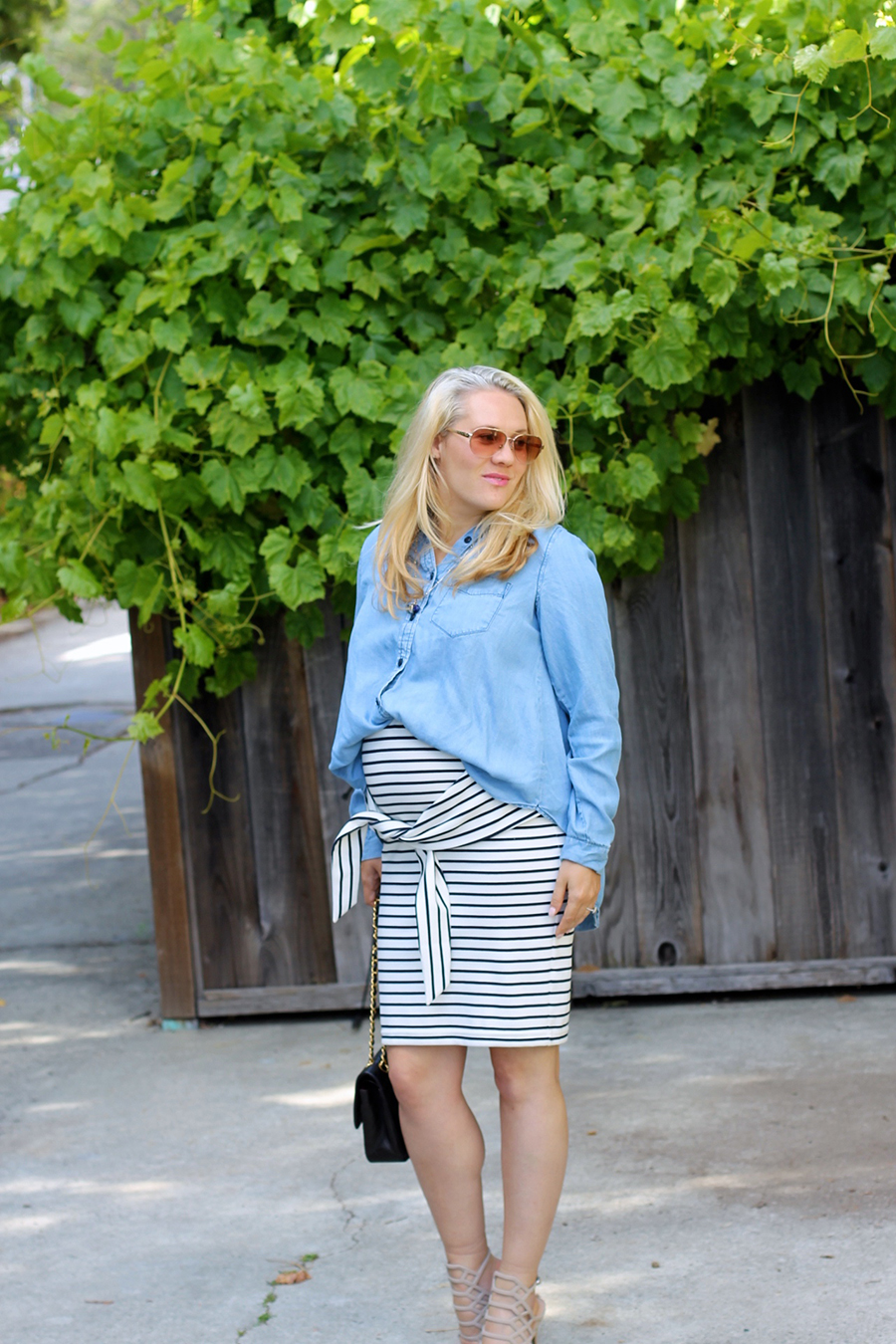 Kingdom & State-Tie Front Skirt-Maternity Style-Pregnancy Style-Chambray Top-Target Style-Have Need Want 3