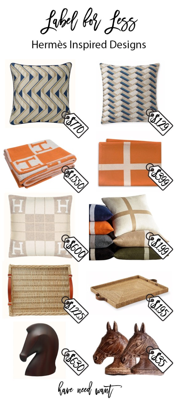 Equestrian home decor by Hermes and Hermes inspired designs. Click on over to the blog to check it out! #homedecor #equestraindecor #hermes #labelforless #lookforless