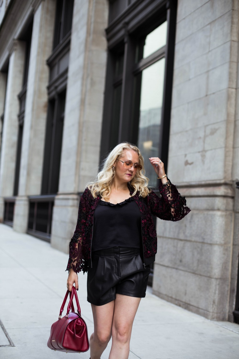 Lace Bomber Jacket-Kobi Halperin for Macy's-NYFW Street Style-NYFW SS18-Outfit Inspiration-Faux Leather Shorts-BCBG-Fall Fashion-Donald Pliner Booties-Geene Boots from Donald J Pliner-Have Need Want 14