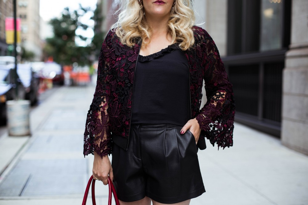 Lace Bomber Jacket-Kobi Halperin for Macy's-NYFW Street Style-NYFW SS18-Outfit Inspiration-Faux Leather Shorts-BCBG-Fall Fashion-Donald Pliner Booties-Geene Boots from Donald J Pliner-Have Need Want 4