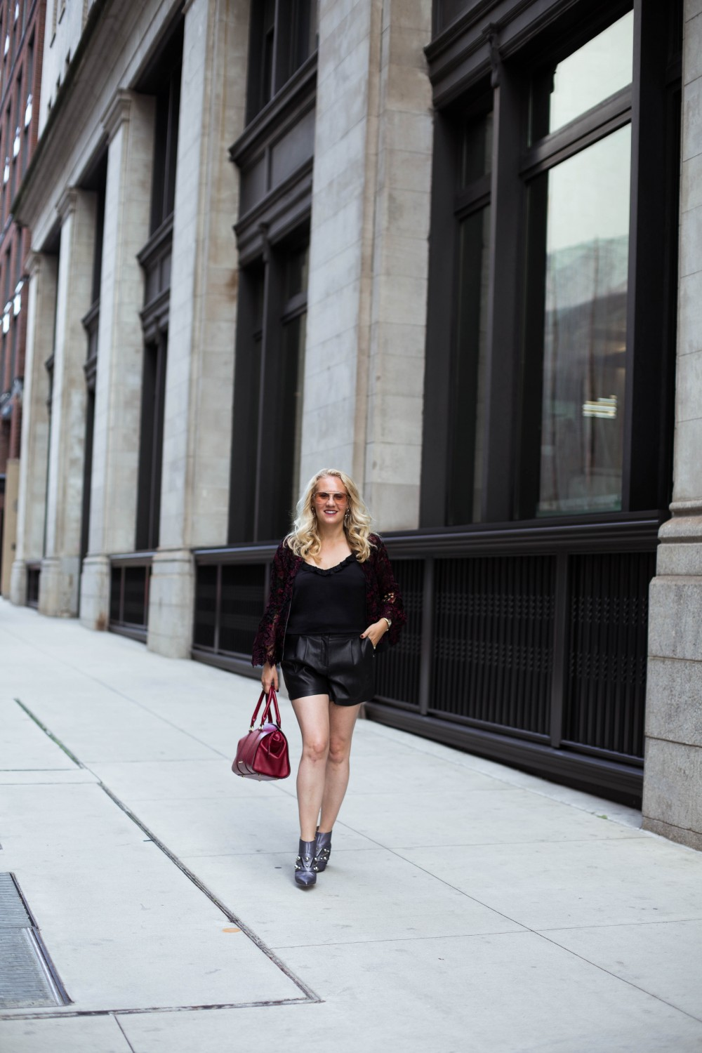 Lace Bomber Jacket-Kobi Halperin for Macy's-NYFW Street Style-NYFW SS18-Outfit Inspiration-Faux Leather Shorts-BCBG-Fall Fashion-Donald Pliner Booties-Geene Boots from Donald J Pliner-Have Need Want 9