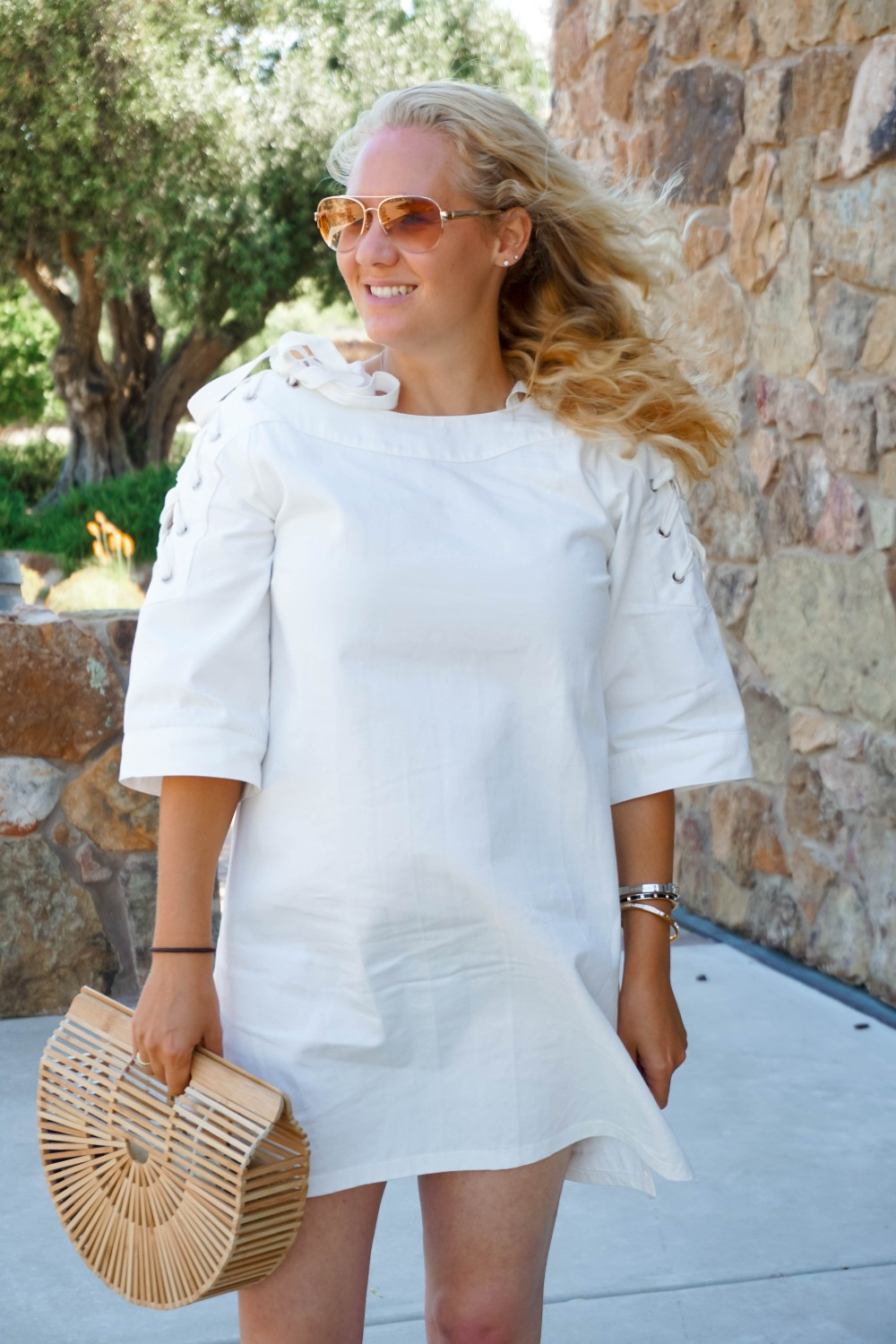Lace-Up White Denim Dress-JOA Denim Dress-Summer Style-Bijou on the Park-Have Need Want-Outfit Inspiration-Mom Style