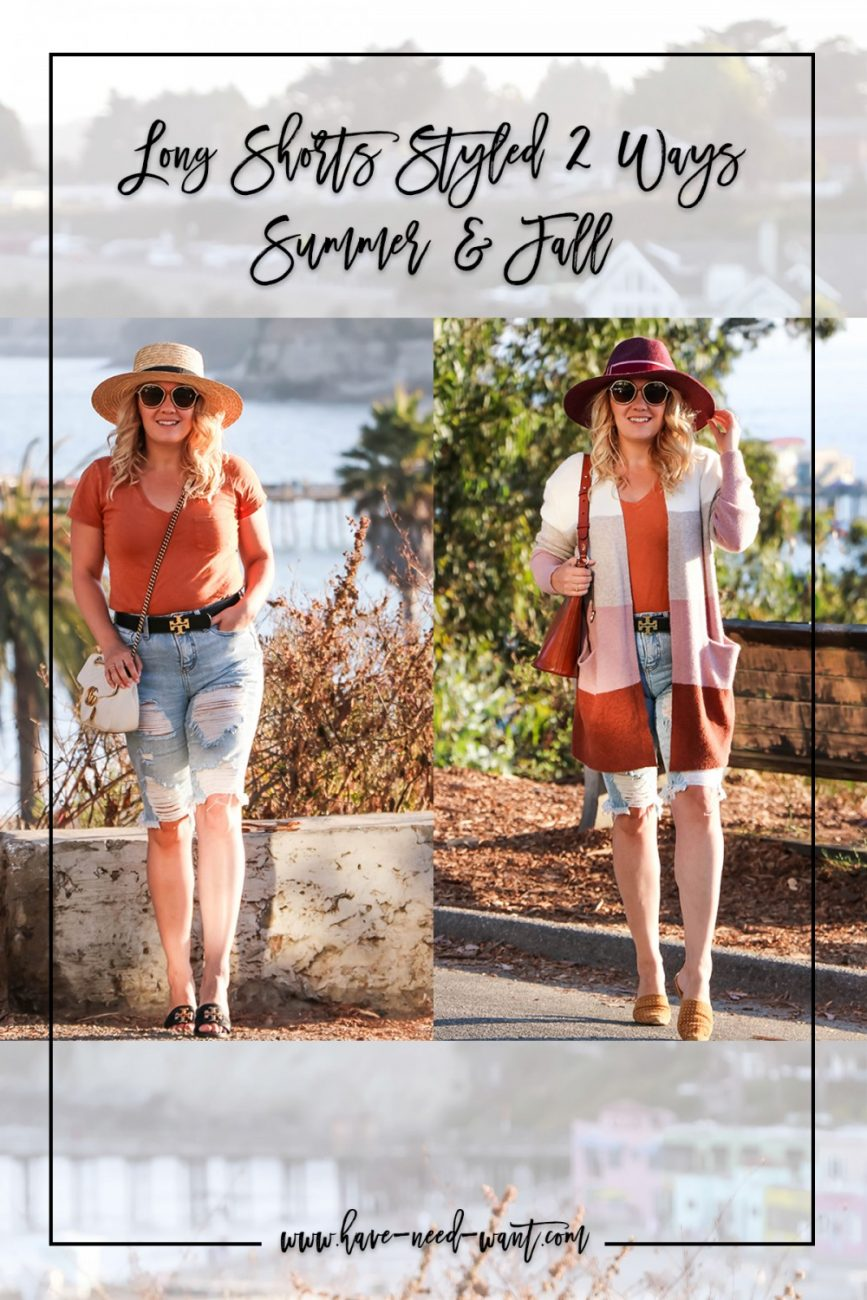 Long Shorts Styled for Summer and Fall! Click on over to the blog to read why I love long shorts for transitioning weather and multiple ways to style them dressed up, down, or for workwear! #longshorts #fallstyle #summerstyle #outfitinspiration #stylingtips