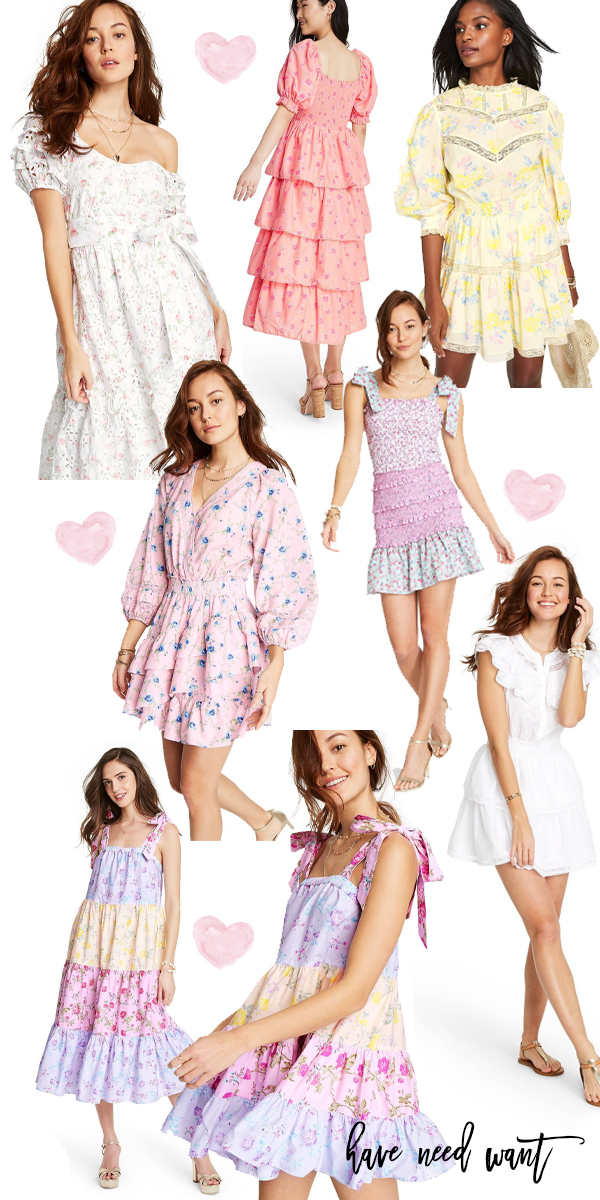 LoveShackFancy for Target with a collection of summer dresses in feminine floral prints. Click on over to the post to check out my favorites from the collection launching June 6th! Be sure to pin so you don't forget!! #loveshackfancy #targetcollaboration #designerdresscollab #designerdresses #summerdresses