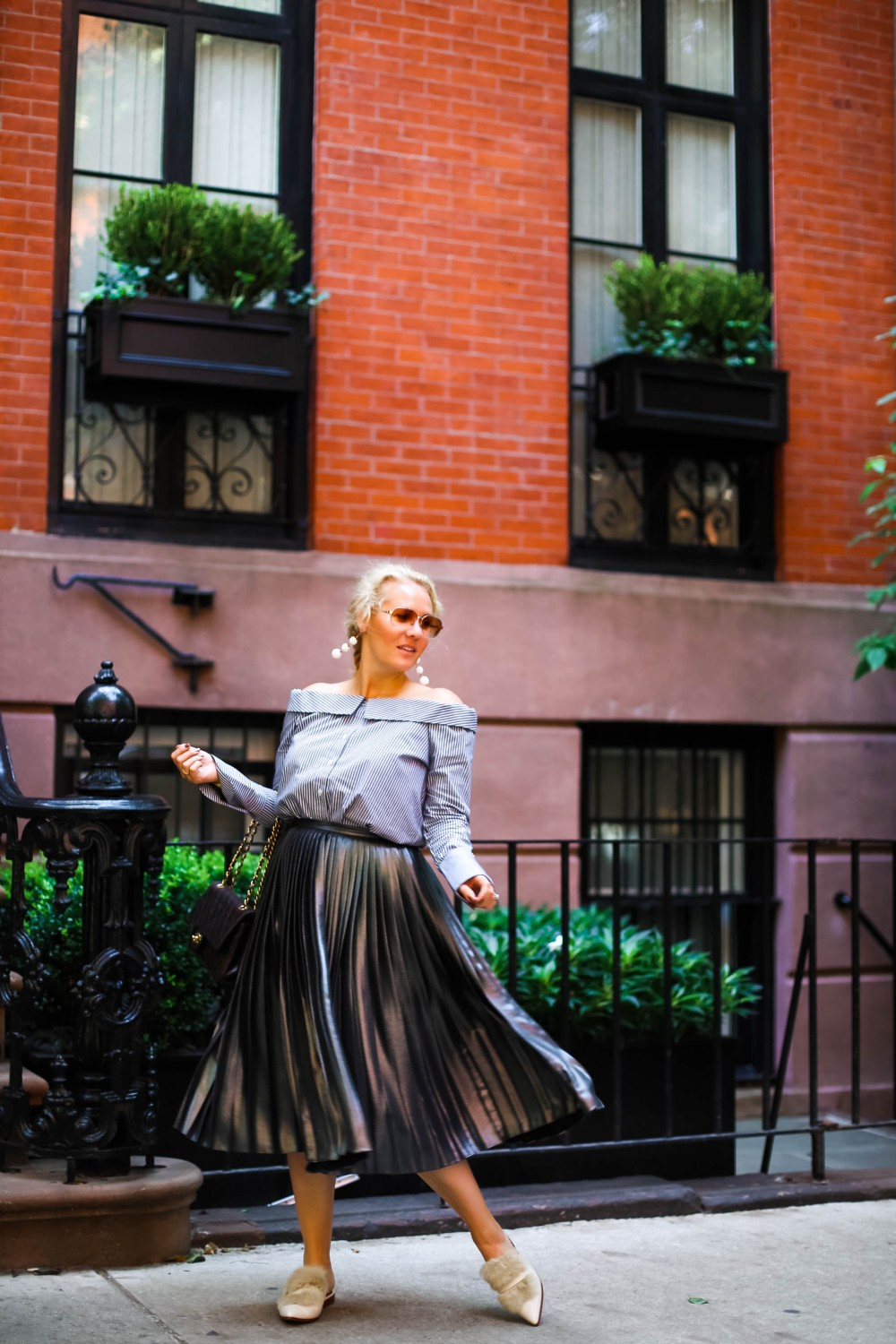 Marled Off the Shoulder Button Down Top, Pinstripe Shirt, NYFW Street Style, Fur Mules, Franco Sarto Flats, Metallic Pleated Skirt, Ted Baker Pleated Skirt, Marled Top, Have Need Want