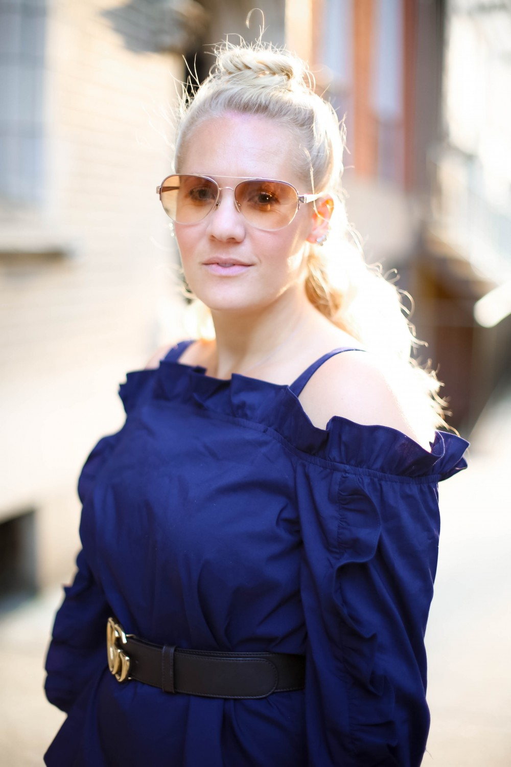 Marled Ruffle Cold-Shoulder Top, Marled by Reunited Clothing, NYFW Street Style, Tresemme Hair, Unicorn Hairstyle, Outfit Inspiration, Ruffle Top, Have Need Want