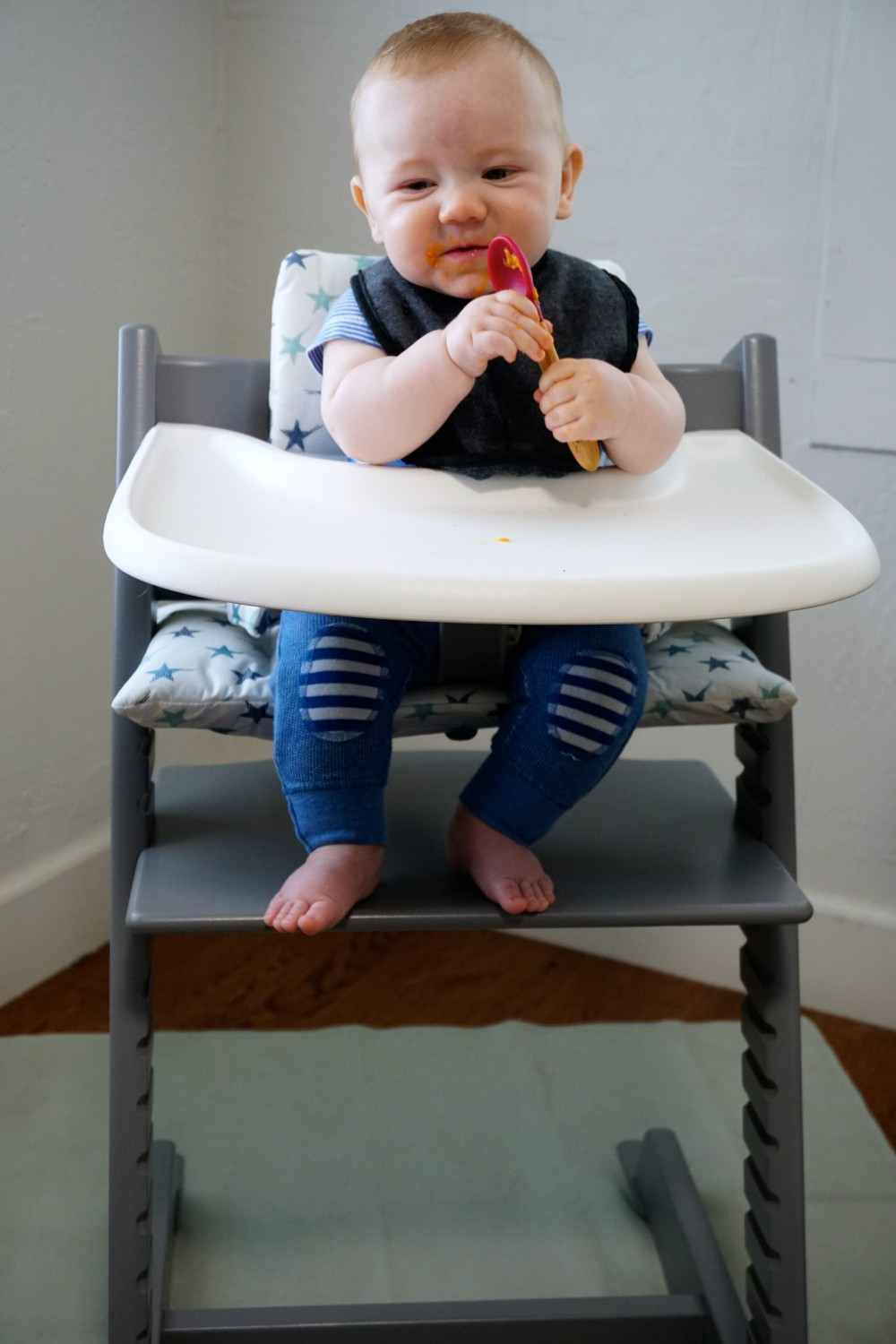 Mason's First Food Made Easier with Gathre Floor Mat-Avanchy Bamboo Spoon-Stokke High Chair-Gathre Mat-Have Need Want
