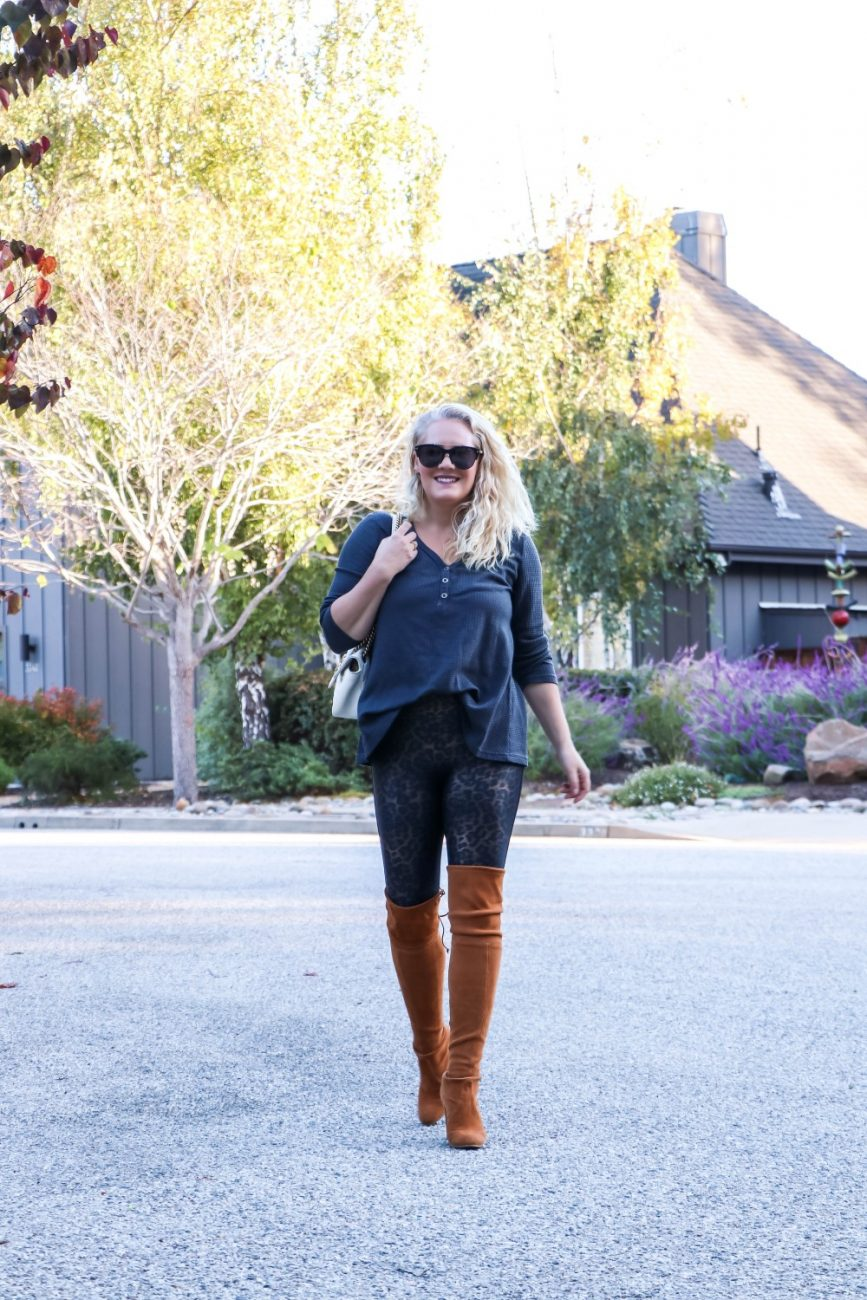 Wear leggings as you would jeans just wear with a top that's longer in the back to cover your bum. Click on over to the blog for another way to style these leggings. #fauxleatherleggings #leopardprintleggings #fallstyle