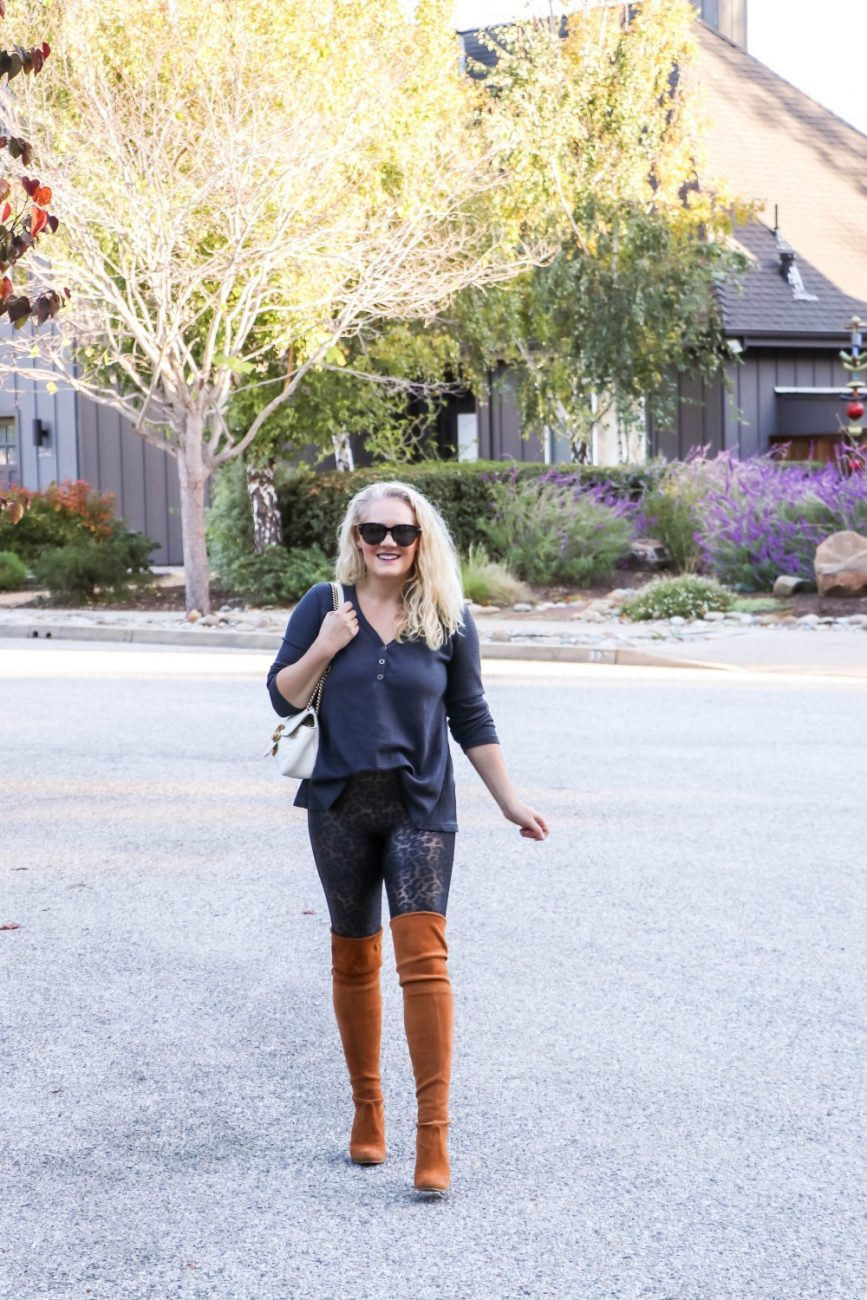 Loving my Spanx faux leather leggings and styling them for fall today on Have Need Want. Click on over to the post to get some outfit inspo and styling tips for wearing leggings out. #fallstyle #falloutfit #spanxleggings #outfitinspiration