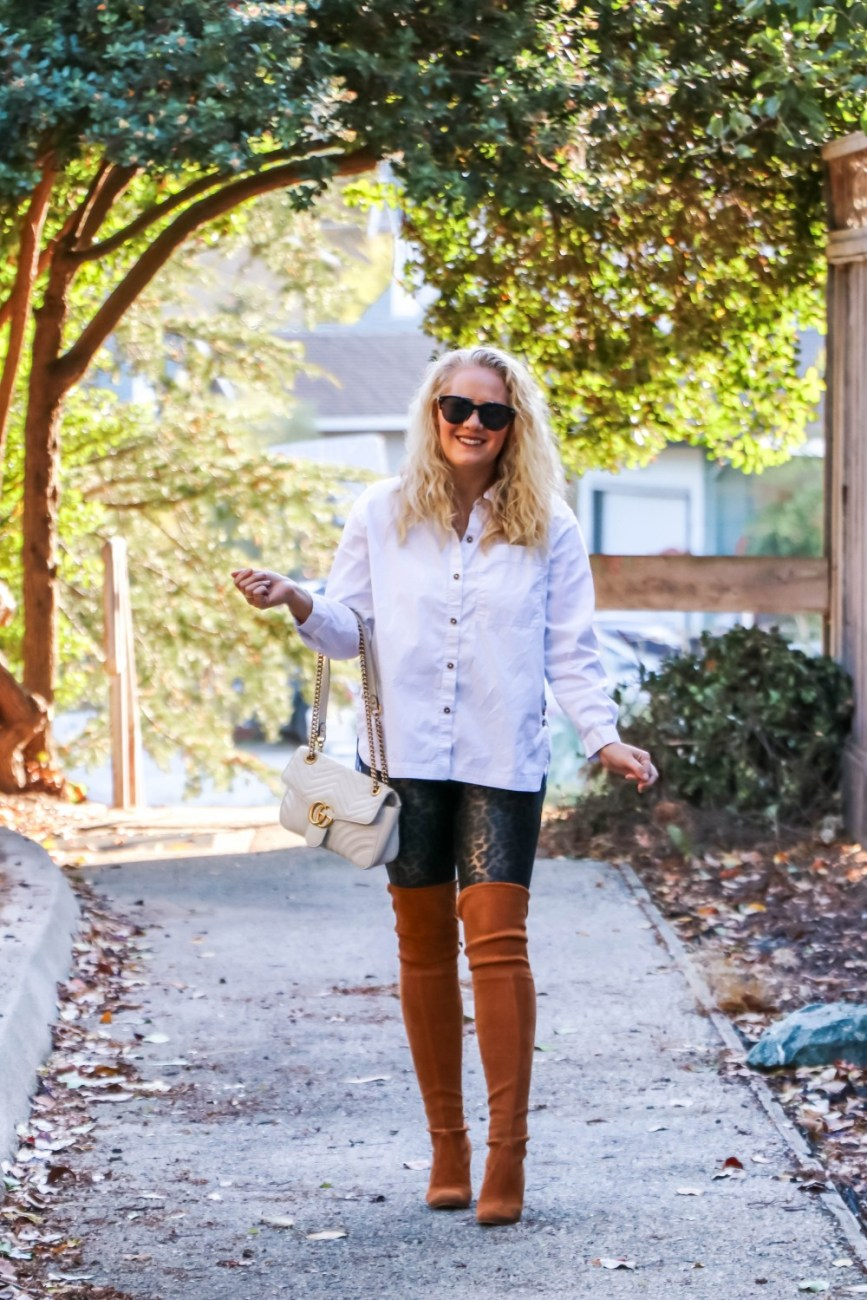 White button down top with leopard print leggings and over the knee boots. #fallstyle #falloutfit #spanxleggings