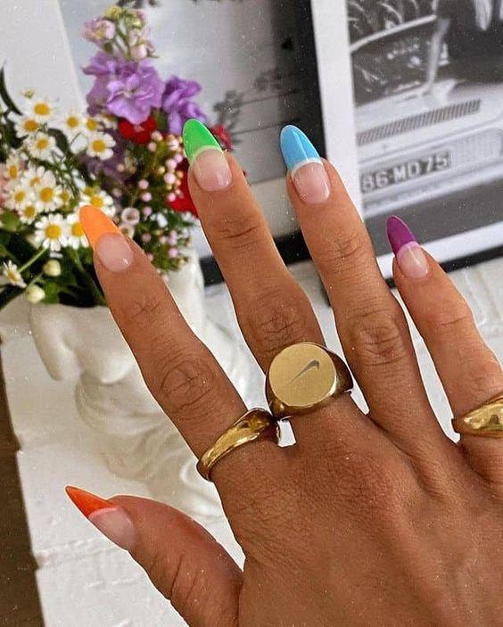 Neon rainbow tip nails