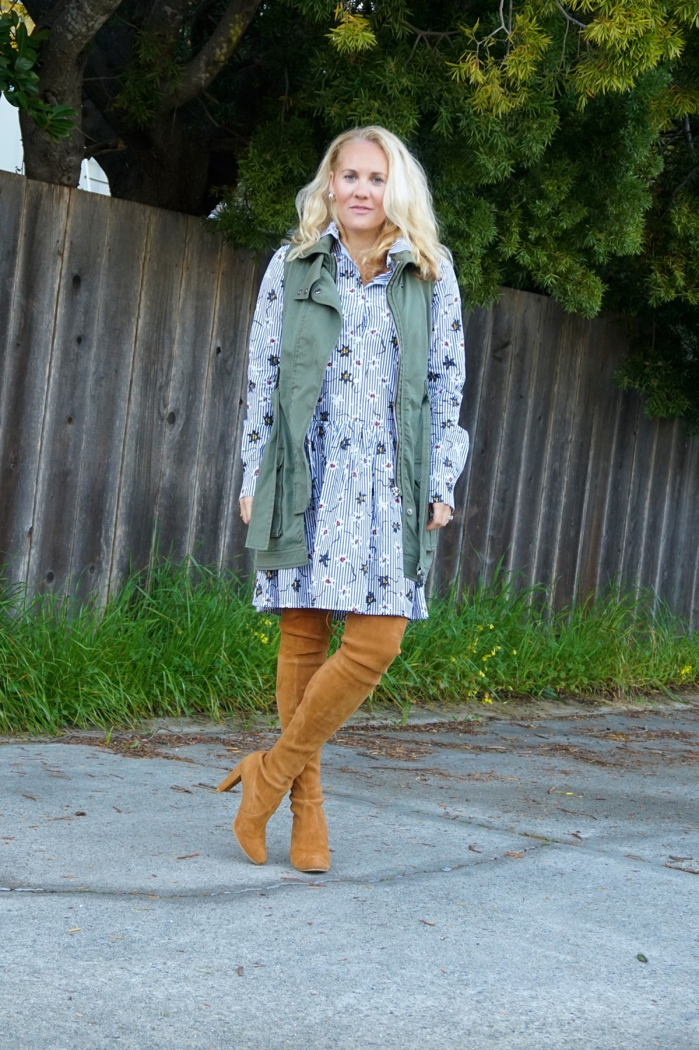 Opening Ceremony Pinstripe and Floral Shirtdress-Spring Style-Outfit Inspiration-Bay Area Fashion Blogger-Stuart Weitzman-Highland Boots-Have Need Want 3