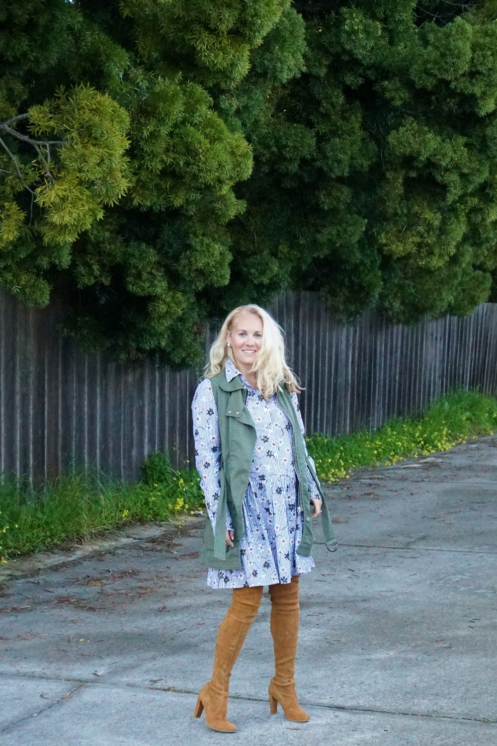 Opening Ceremony Pinstripe and Floral Shirtdress-Spring Style-Outfit Inspiration-Bay Area Fashion Blogger-Stuart Weitzman-Highland Boots-Have Need Want 9