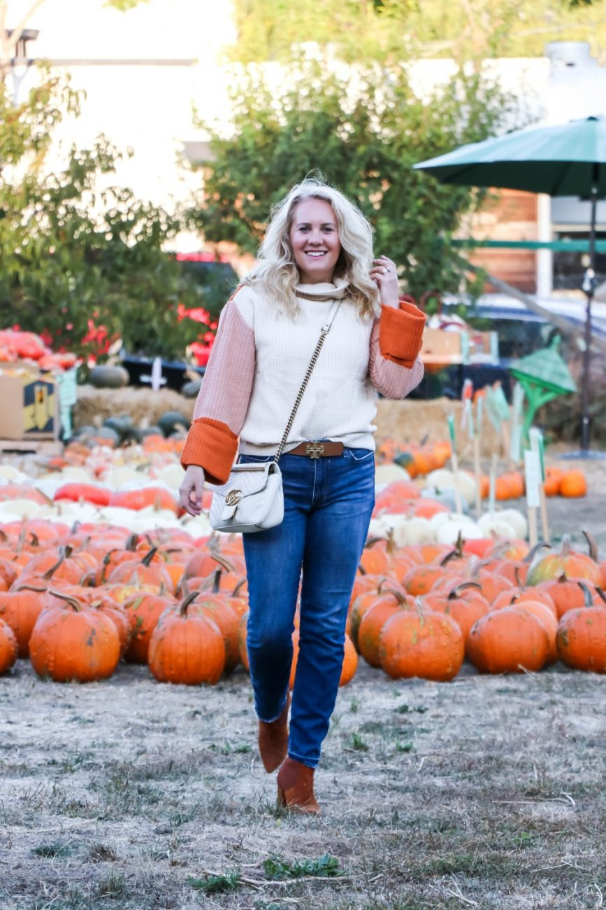 Sharing some Fall outfit inspiration on Have Need Want! Love this orange color block sweater! Head to the post to check it out + get outfit details!! #fallstyle #fallsweater #sweaterweather #colorblocksweater