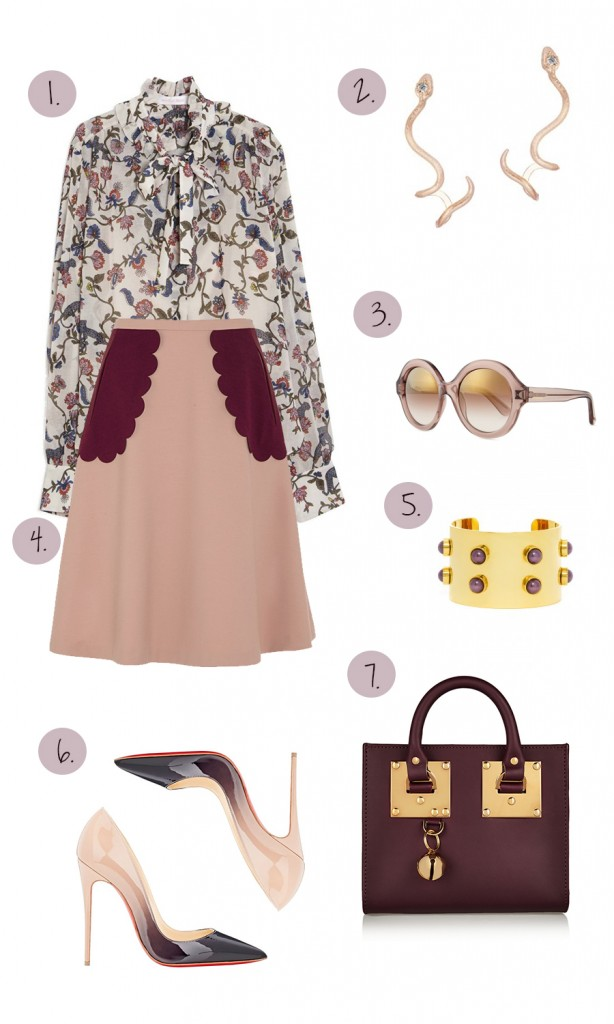 what to wear to a baby shower, outfit inspiration, fashion blogger, have need want, red valentino, see by chloe, outfit ideas, bauble bar, kendra scott, mirror mirror, christian louboutin, feminine style