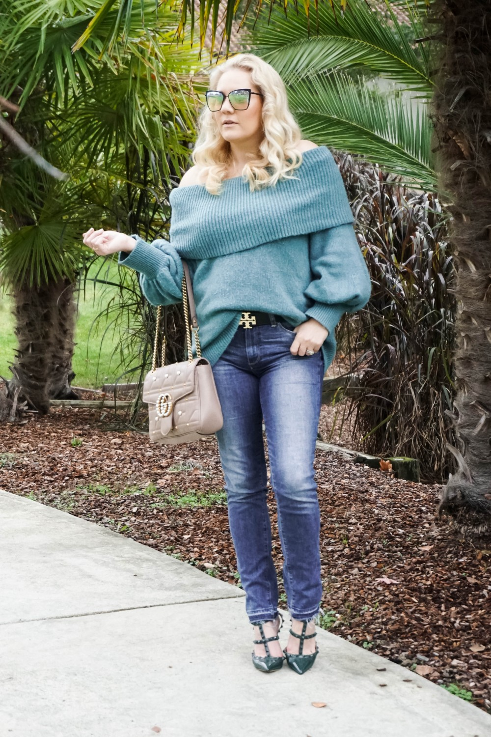 Personal Style After Motherhood, Off The Shoulder Sweater, Express Sweater, Valentino Rockstud Pumps, Gucci Marmont Handbag, Mom Style, Outfit Inspiration, Have Need Want