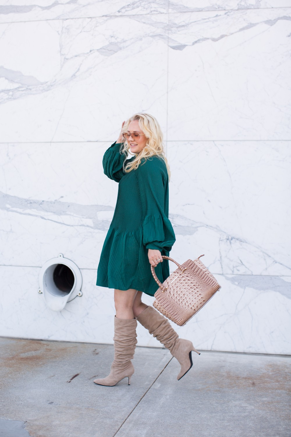 Pleated Mini Dress, Treasure and Bond Dress, Stuart Weitzman Boots, Suede Slouchy Boots, Fall Style, Nordstrom Anniversary Sale 2018, Outfit Inspiration, Have Need Want