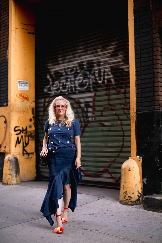 Pom Pom Top, NYFE Street Style, Best of NYFW Street Style, Outfit Inspiration, Pom Pom Heels