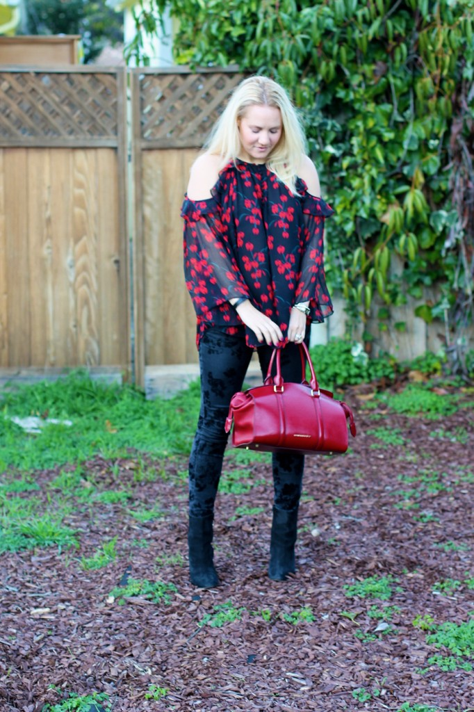 Rachel Zoe Open Shoulder Blouse-Winter Outfit Inspiration-Have Need Want-Bay Area Fashion Blogger-Open Shoulder Blouse-Burberry Handbag-Manolo Blahnik Booties 5