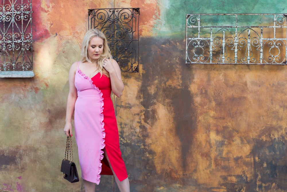 Romantic Valentine's Day Date Night Dress, Bardot Two Tone Dress, Ruffle Detail Dress, Outfit Inspiration, Valentine's Day Outfit, Have Need Want