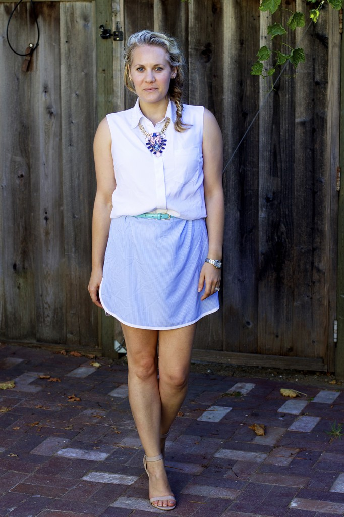 Sleeveless summer shirt dress statement necklace fashion blogger have need want 6