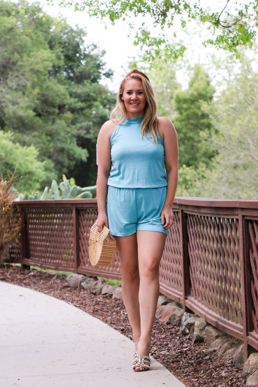 Sharing the softest halter neck romper for summer on Have Need Want! It comes in at under $20. Head to the blog to check out the post + get outfit details! #summerstyle #outfitinspiration #under20finds #amazonfashion #summerromper