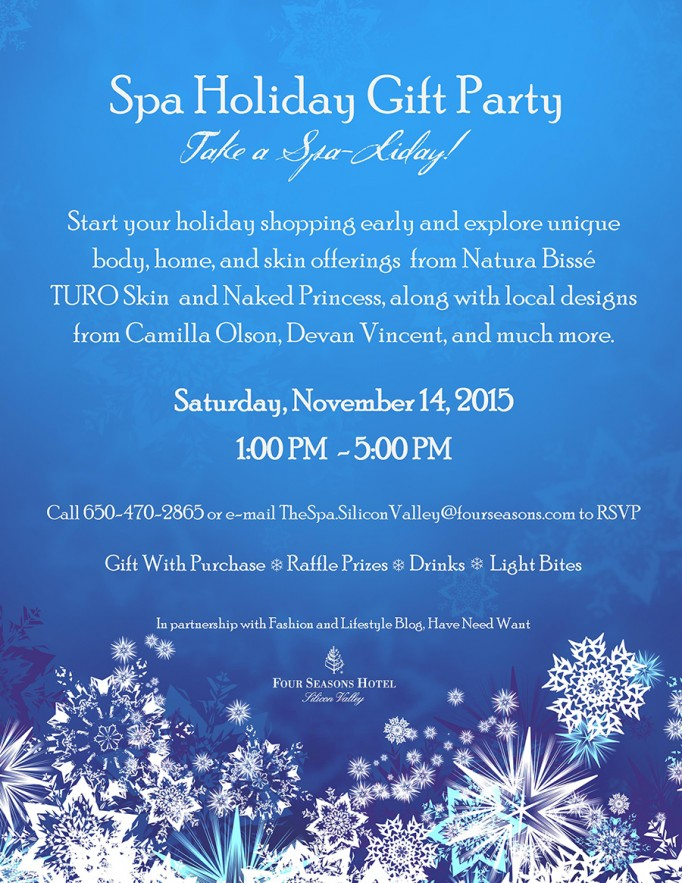 Spaliday four seasons silicon valley-have need want-holiday event-bay area events-spa treatments-girls day