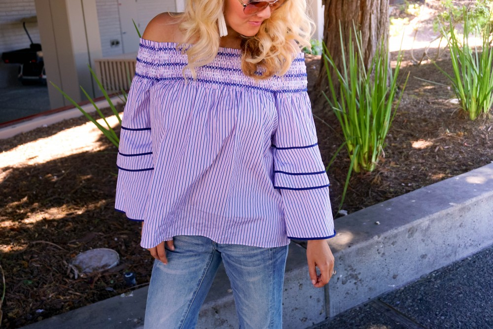 Striped Off-The-Shoulder Poplin Blouse-Parker New York-Summer Style-Outfit Inspiration-Have Need Want-Skinny Boyfriend Jeans-Espadrille Wedges 12